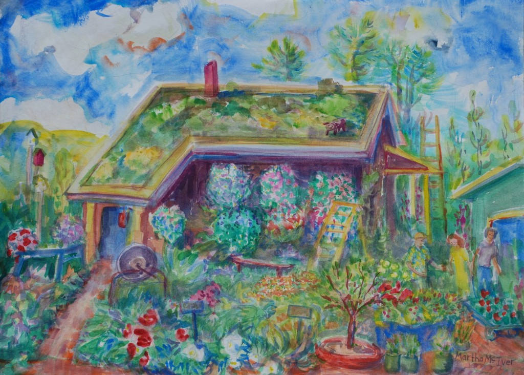 Watercolor: Plant nursery in summer with ladders