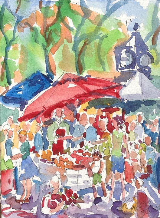 Watercolor: Fruit stand at farmer's market with umbrellas and clock