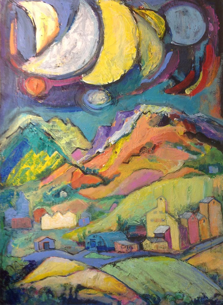 Painting: Moons Palouse landscape with grain elevators and hills