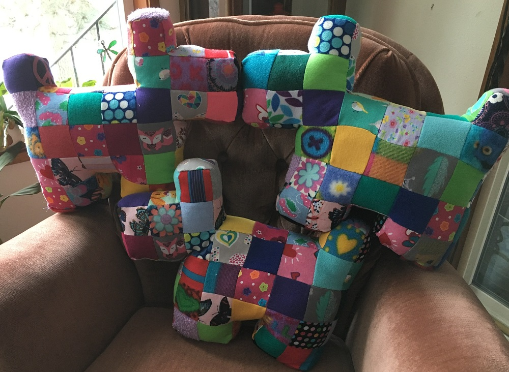 Pillows made of patches