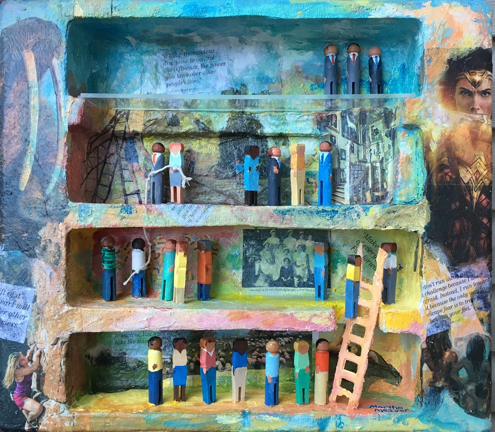 3D mixed media of people on levels (The Glass Ceiling)