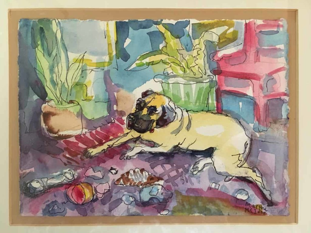 Watercolor: Dog in Living Room with Plants